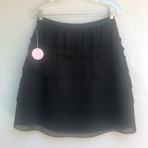 Rebecca Taylor Black Pleated Mini Skirt Size 4 NWT